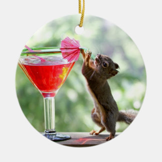 Squirrel Drinking Cocktail Christmas Ornament