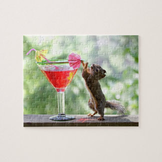 Squirrel Drinking Cocktail Jigsaw Puzzle
