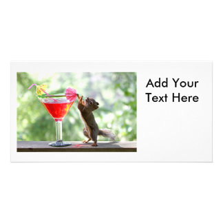Squirrel Drinking Cocktail Customised Photo Card