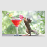 Squirrel Drinking Cocktail Rectangle Sticker