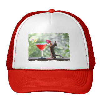 Squirrel Drinking Tropical Drink Mesh Hat