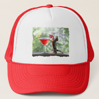 Squirrel Drinking Tropical Drink Trucker Hat