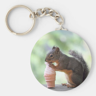 Squirrel Eating an Ice Cream Cone Basic Round Button Key Ring