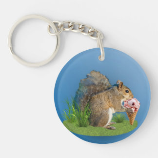 Squirrel Eating Ice Cream Cone Acrylic Keychains