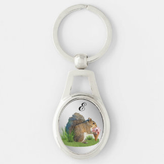 Squirrel Eating Ice Cream Cone, Monogram Silver-Colored Oval Key Ring