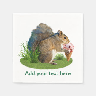Squirrel Eating Ice Cream Cone, Text Paper Napkin