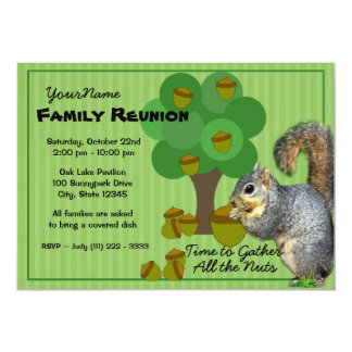 Squirrel Family Reunion 13 Cm X 18 Cm Invitation Card
