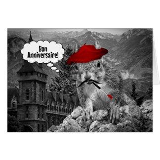 Squirrel French Artist Birthday Greeting Card
