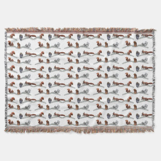 Squirrel Frenzy Throw Blanket (choose colour)