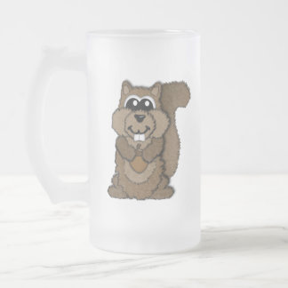 Squirrel Frosted Glass Beer Mug