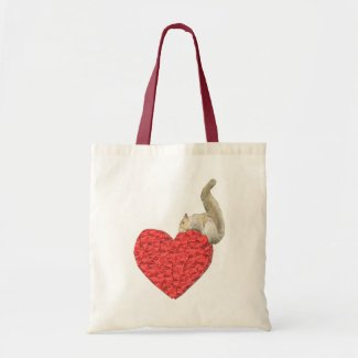 Squirrel Heart Tote Bag