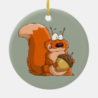 SQUIRREL HOLDING ACORN CHRISTMAS ORNAMENT