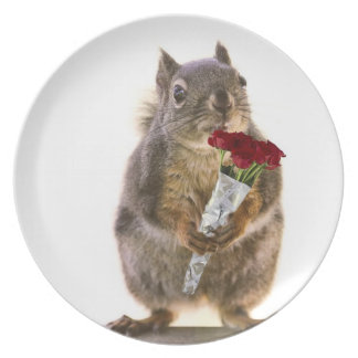 Squirrel Holding Red Rose Bouquet Plate