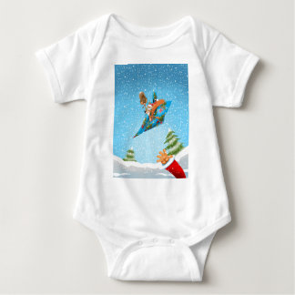 Squirrel in a Christmas paper aeroplane Baby Bodysuit