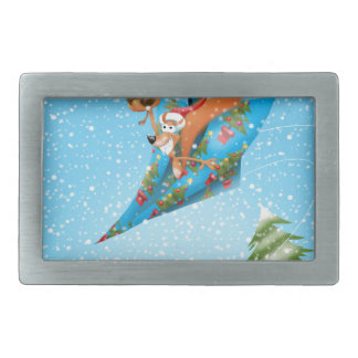 Squirrel in a Christmas paper aeroplane Belt Buckles