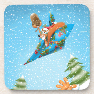Squirrel in a Christmas paper aeroplane Beverage Coaster