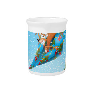 Squirrel in a Christmas paper aeroplane Beverage Pitcher
