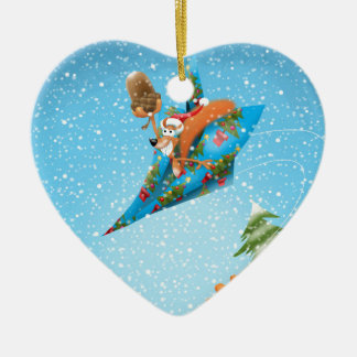 Squirrel in a Christmas paper aeroplane Ceramic Heart Decoration
