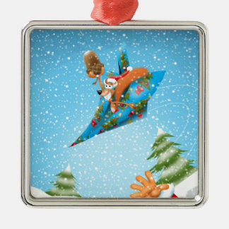Squirrel in a Christmas paper aeroplane Christmas Ornament