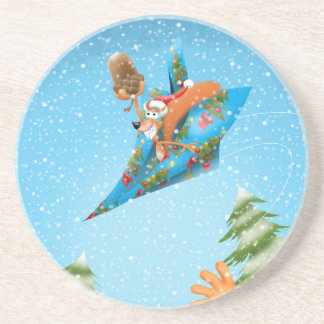 Squirrel in a Christmas paper aeroplane Drink Coasters