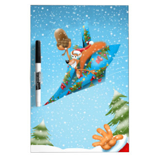 Squirrel in a Christmas paper aeroplane Dry Erase Board