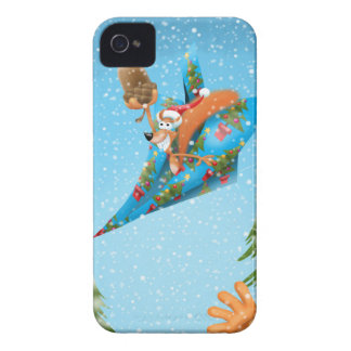 Squirrel in a Christmas paper aeroplane iPhone 4 Cover