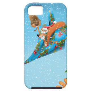 Squirrel in a Christmas paper aeroplane iPhone 5 Case