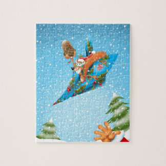 Squirrel in a Christmas paper aeroplane Jigsaw Puzzle