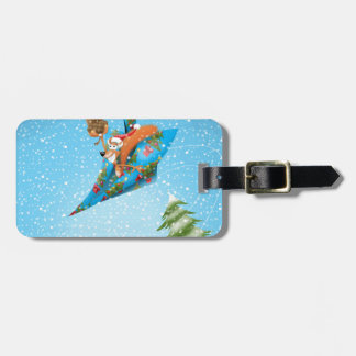 Squirrel in a Christmas paper aeroplane Luggage Tag