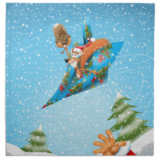 Squirrel in a Christmas paper aeroplane Napkin