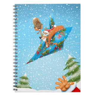 Squirrel in a Christmas paper aeroplane Notebooks