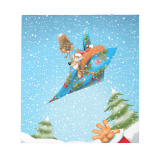 Squirrel in a Christmas paper aeroplane Notepad