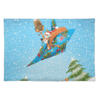 Squirrel in a Christmas paper aeroplane Placemat