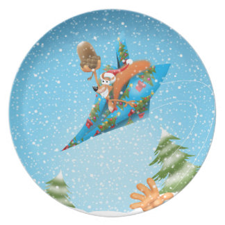 Squirrel in a Christmas paper aeroplane Plate