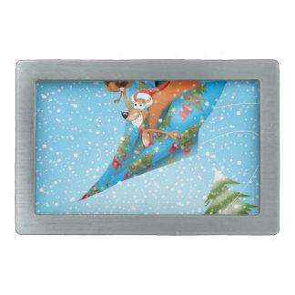 Squirrel in a Christmas paper aeroplane Rectangular Belt Buckle
