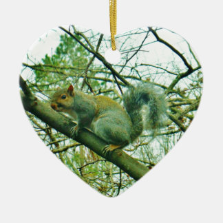 Squirrel in a Light Blue Mist Christmas Ornament