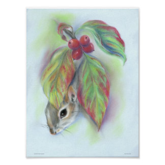 Squirrel in Autumn Dogwood Leaves Poster