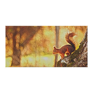 Squirrel In Autumn Forest landscape Painting Canvas Print