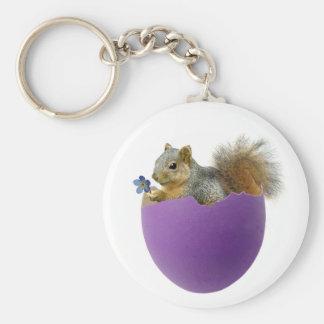 Squirrel in Eggshell Keychain