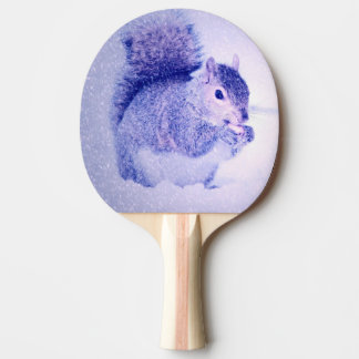 Squirrel in snow ping pong paddle