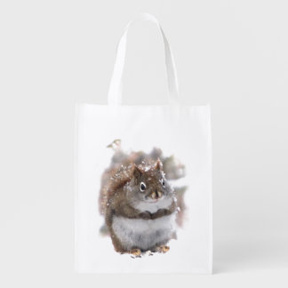 Squirrel in Snow Reusable Grocery Bag
