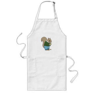 Squirrel in Suit Holding Cup of Coffee Long Apron