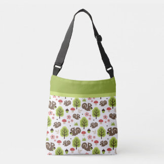 Squirrel in The Oak Forest Pattern Crossbody Bag