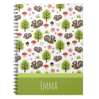 Squirrel in The Oak Forest Pattern Notebook