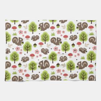 Squirrel in The Oak Forest Pattern Tea Towel