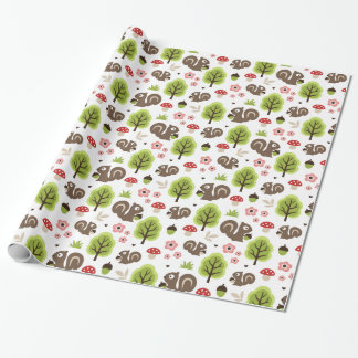 Squirrel in The Oak Forest Pattern Wrapping Paper