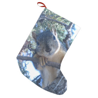 Squirrel in Tree - Small Christmas Stocking