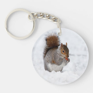 Squirrel In Winter Key Ring