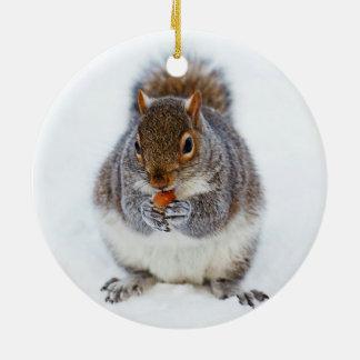 Squirrel in Winter Round Ceramic Decoration