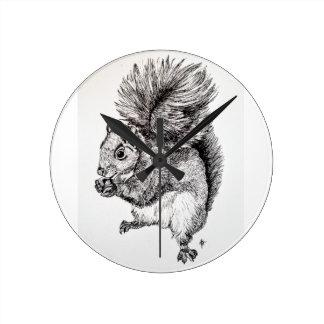 Squirrel Ink Illustration on Clock